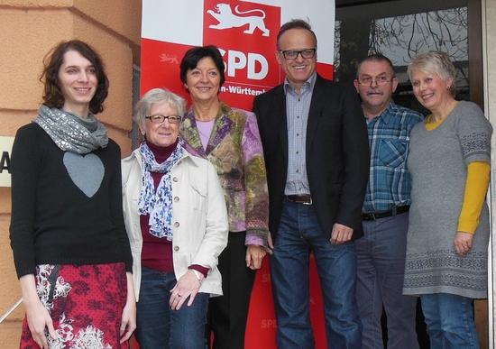 (v. l.): Fabienne Vesper, Christel Bähr, Elvira Drobinski-Weiß, Karl-Rainer Kopf, Manfred Maurer u. Petra Mayer-Kletzin